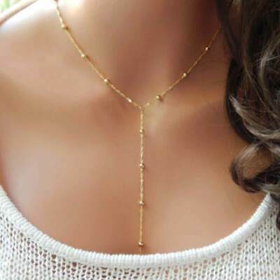 Delicate Gold or Silver with long Drop bead Chain Necklace Uk seller