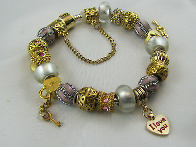 "925 STAMPED GOLDEN 20cm EUROPEAN STYLE CHARM BRACELET  ""DELUXE"" #1656"