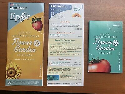 Disney Parks Epcot Flower And Garden Festival 2019 Map Time Guide Passport NEW