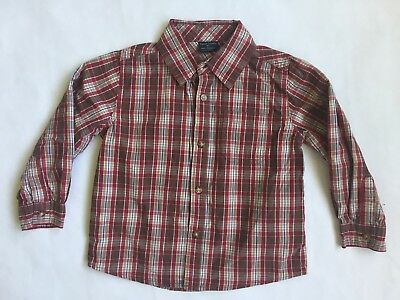 Sz 4t Boys Button Up Shirt Brown Red Plaid Dressy Top Fall Colors Long Sleeved