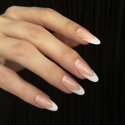 Elegant French False Nails Long Pointy Oval Holiday Faux artificial White tips