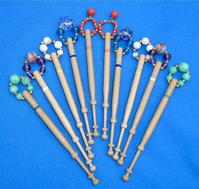 H3 *. 5 Prs (10) Lemon Wood  Bobbins Spangled Quality Beads Into Matching Pairs