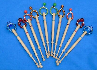 H5 *. 5 Prs (10) Lemon Wood  Bobbins Spangled Quality Beads Into Matching Pairs