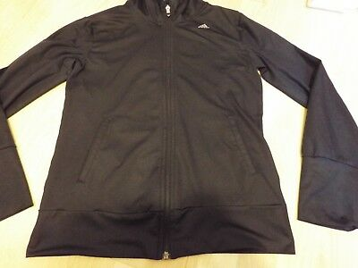 Ladies Adidas climalite training top with hood +logo in black Size Small UK 8-10