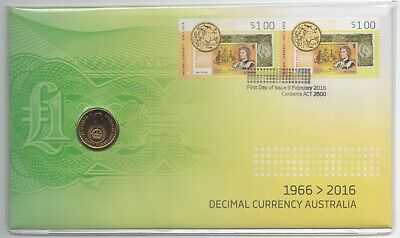 2016 Australia Pnc: Fifty Years Of Decimal Currency With Specimen Grade $2 Coin