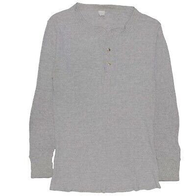 84301390 Vintage 70's Fruit of the Loom Men's Henley Thermal Knit Shirt Long Sleeve  Small