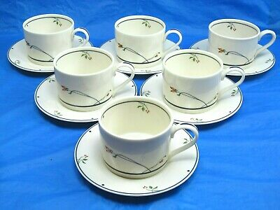 6 Gorham Ariana Town and Country Tea Coffee Cups & Saucers Bundle of 6 Sets