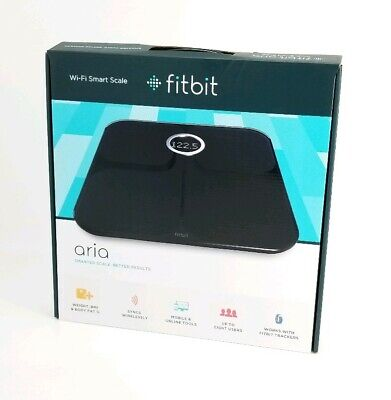 Fitbit Aria Wi-Fi Smart Scale - Black Fitness Weight Control Health Weight Loss