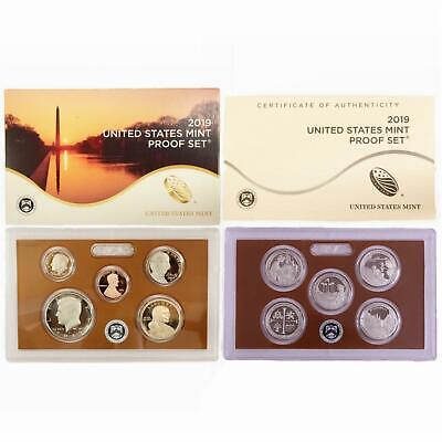 2019 S Proof Set Original Box & COA 10 Coins NO BONUS W CENT CN-Clad