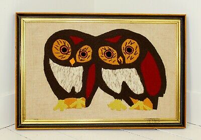 1970s Large Long Framed Owls Crewel Mid Century Burnt Orange Rust Beige Vintage