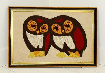 Vintage 1970s Large Framed Owls Crewel Mid Century Burnt Orange Rust Beige