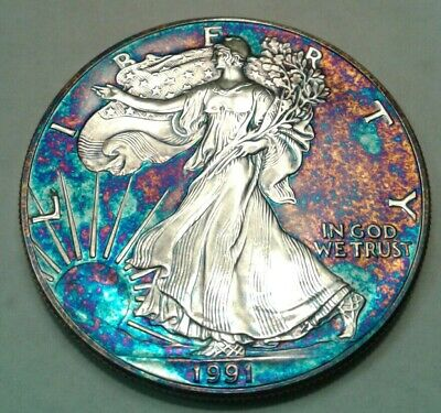 1991  american silver  eagle dollar with beautiful toning, * TONED