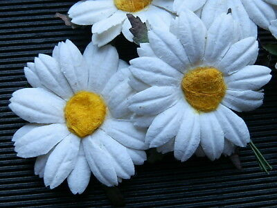 10 Mulberry Paper DAISIES MP3D45 White 45mm Wedding Hair Craft Embellishments
