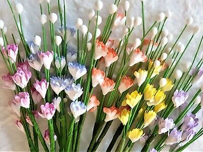 25 stems MINI Paper Flowers Mixed Colours MP3D5X2 Wedding DOLLS Cards PARTY