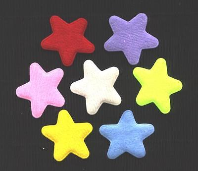 50 puffy fabric STARS 33mm  FS1 Scrapbooking Sewing Hair Clip Embellishments
