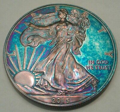 2015  american silver eagle  dollar with beautiful toning,  TONED..