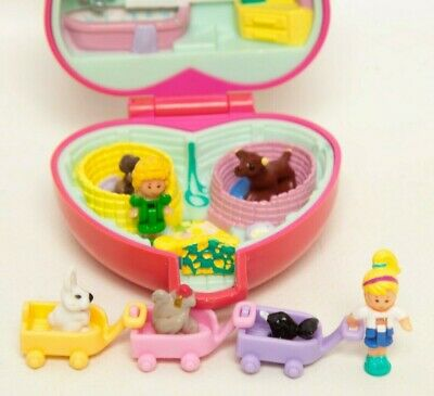 Vintage Polly Pocket Pet Parade Pink Heart Compact Lil Pet Carts 2 Polly Dolls 3