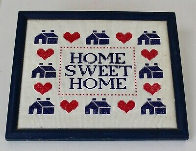 Home Sweet Home Framed Counted Cross Stitch Farmhouse Folk Art Red White Blue