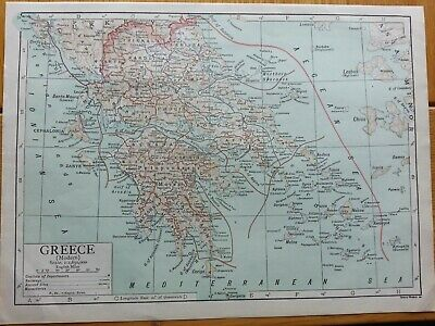 Antique Print 1926 Map Of Greece Modern Vintage Atlas Globe Map Of World Europe