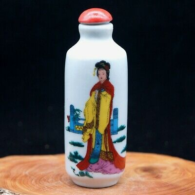 Chinese Collectible Handmade ceramics Ancient Beauty porcelain snuff Bottle