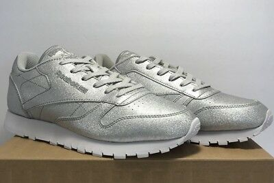 6f3d7dc95e5 Reebok Womens Size 8.5 Classic Leather SYN Diamond Silver Shimmer Casual  Shoes
