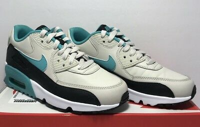 size 40 5afb9 b1482 Nike GSB Size 4.5Y Air Max 90 Light Bone Turquoise Leather Running Shoes  833412