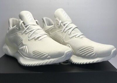 Adidas Mens Size 10 Alphabounce Beyond Pride All White Athletic Training Shoes