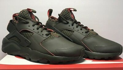 dd3ff3543aa5 Nike Mens Size 9 Air Huarache Run Ultra SE Cargo Khaki Crimson Shoes 875841  301
