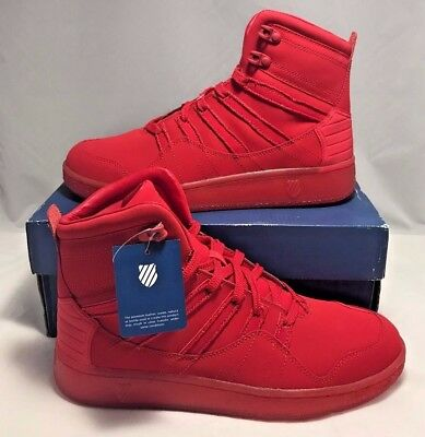 check out 57dca 1f4d0 K-SWISS MENS SIZE 13 Volley Mid Ribbon Red Ice Casual Fashion Shoes New
