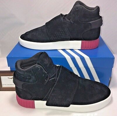704c1e22bc43 Adidas Originals Womens Size 7 Tubular Invader Strap Black Leather Shoes  Pink