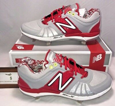 de68fefd NEW BALANCE MENS Size 12 Low Metal Baseball Cleats Red Silver ...
