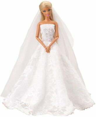 Miunana Princess Evening Party Clothes Wears Dress Outfit Set for Doll with Veil