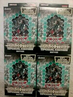 Yugioh Savage Strike SPECIAL EDITION Lot Of 4 Mini Boxes - FREE PRIORITY SHIP