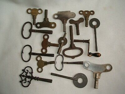Collection of 17 Antique Clock Keys