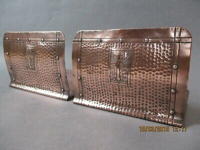 Pair of Antique Arts And Crafts Style Hammered Copper Book Ends Roycroft Newlyn