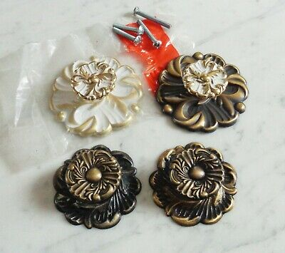 Vintage WhiteWash& Brass French Provincial Rosette Drawer Pull Knobs &Backplates