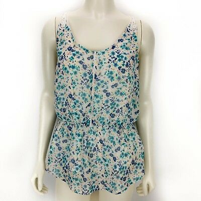 25f1691cb36 Lauren Conrad LC Sleeveless Lace Floral Blouse Top Shirt Womens Size  Small