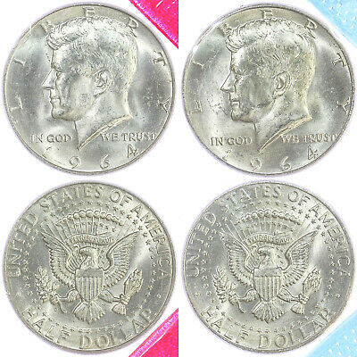 1964 P D Kennedy Half Dollar BU US Mint Cello 90% Silver 2 Coin Set