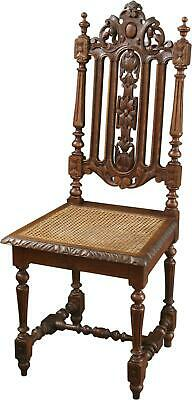 Dining Chair Hunting Renaissance Antique French 1880 Carved Oak Rattan Ca