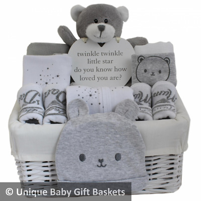 Grey & white unisex baby gift basket. Neutral baby gift hamper with clothes set.