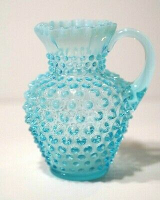 "Vintage Fenton Art Glass Blue Hobnail Opalescent Pitcher 5 3/4"" Tall"
