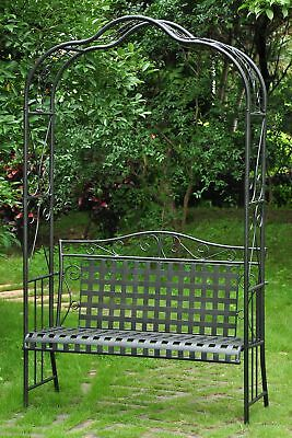 Garden Wrought Iron Arch Arbor With Loveseat Bench Wedding Decor Plants Black