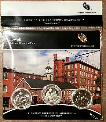 2019 LOWELL National Historical Park MASSACHUSETTS  Quarters 3-Coins (PDS)