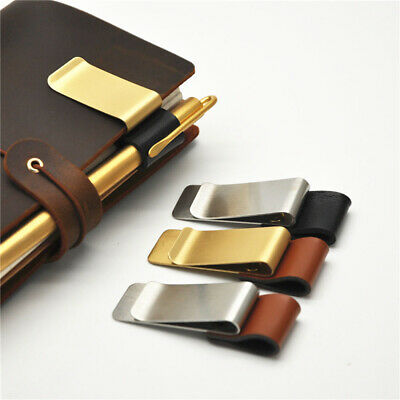 Handmade Leather Brass Pen Folder Notebook Holder Stainless Steel Clips