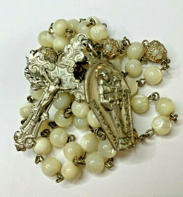 "† Vintage ""St Anthony"" Sterling & Mother Of Pearl Rosary 25"" Necklace & Medal †"