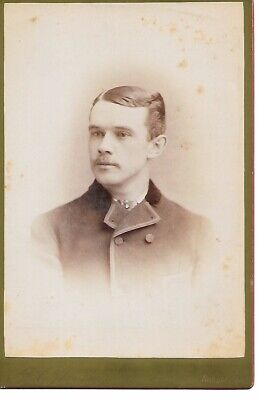 Antique Cabinet Card photo Handsome Young Man Slick Hair WESTON Bangor Maine