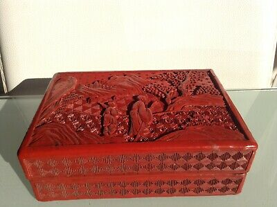 Magnificent Antique Mid 19th Century Carved Chinese Cinnabar Lacquer Box Rare