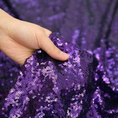 Purple 3mm Sequin Fabric Sparkly Bling Material 2W Stretch 130cm Wide metre