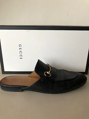 a2693156830 GUCCI Princetown Black Leather Horsebit Mules Loafers Slipper Flats 7.5 37.5