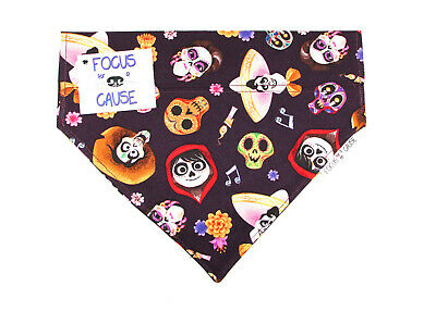 Coco, Disney Day of the Dead, Slide Over Collar Dog Bandana by Focus for a Cause